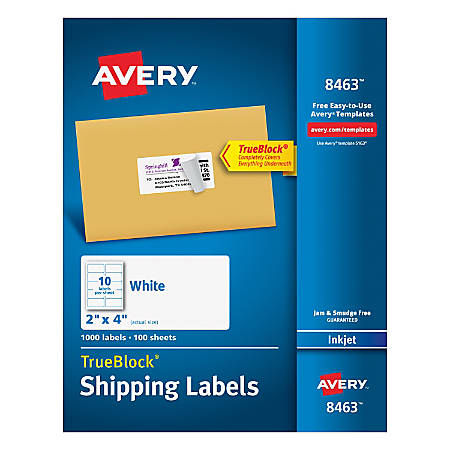 Avery Trueblock Permanent Inkjet Shipping Labels 8463 2 X 4 White