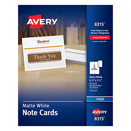 Avery Inkjet Note Cards 4 14 X 5 12 White Pack Of 60 By Office Depot