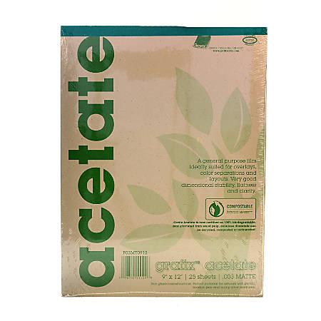 "Grafix Matte Acetate Film Pad, 9"" x 12"", 0.003"" Thick, 25 Sheets"