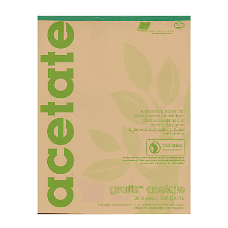 "Grafix Matte Acetate Film Pad, 9"" x 12"", 0.005"" Thick, 25 Sheets"