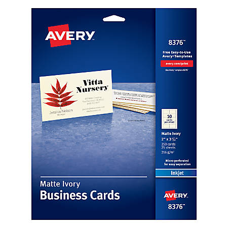 "Avery® Inkjet Microperforated Business Cards, 2"" x 3 1/2"", Ivory, Pack Of 250"