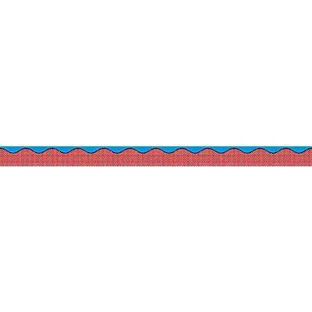 "Scholastic Teacher's Friend Pop Art Scalloped Trimmer, 2 1/4"" x 36', Blue/Red, Pack Of 12"