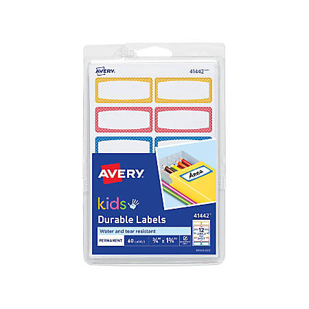 "Avery® Kids' Durable Labels, 41442, 1 3/4"" x 3/4"", Assorted Colors, Pack Of 60"