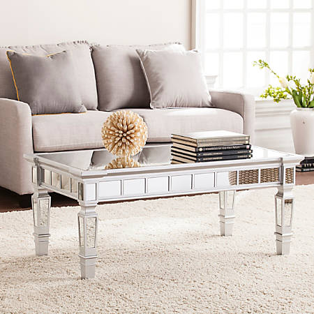Southern Enterprises Glenview Glam Mirrored Cocktail Table, Rectangular, Matte Silver