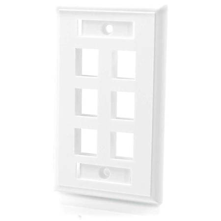 C2G 6-Port Single Gang Multimedia Keystone Wall Plate - White
