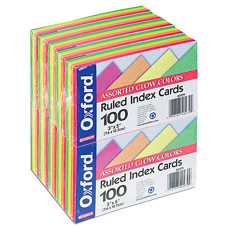 "Office Depot® Brand Index Cards, 3"" x 5"", Assorted Neon, Pack Of 100"