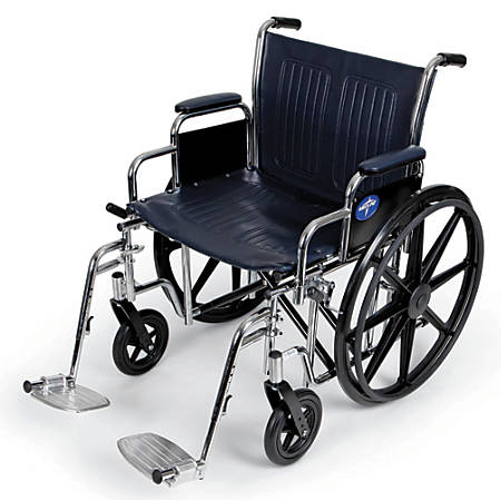 "Medline Extra-Wide Wheelchair, Swing Away, 24"" Seat, Navy/Chrome"