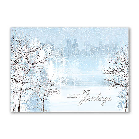 "Custom Embellished Holiday Cards And Foil Envelopes, 7-7/8"" x 5-5/8"", Gentle Snowfall, Box Of 25 Cards"