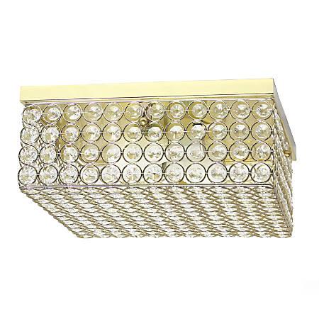 """Elegant Designs Elipse Crystal 2-Light Square Flush Mount Ceiling Fixture, 5""""H, Gold"""