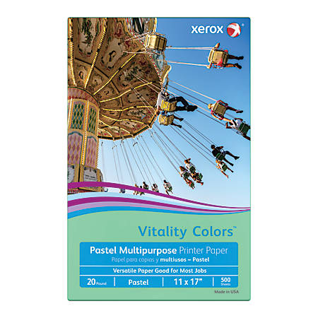 Xerox® Vitality Colors™ Multipurpose Printer Paper, Ledger Paper Size, 20 Lb, 30% Recycled, Green, Ream Of 500 Sheets