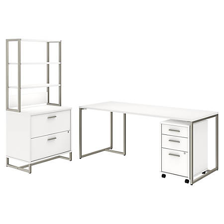 """kathy ireland® Office by Bush Business Furniture Method Table Desk with File Cabinets and Hutch, 72""""W, White, Standard Delivery"""