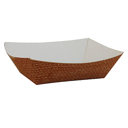 """Southern Champion Tray Hearthstone Boat/Bowl Paperboard Food Trays, 1-1/4""""H x 4-5/8""""W x 3-1/4""""D, Brown, Pack Of 1,000 Trays"""