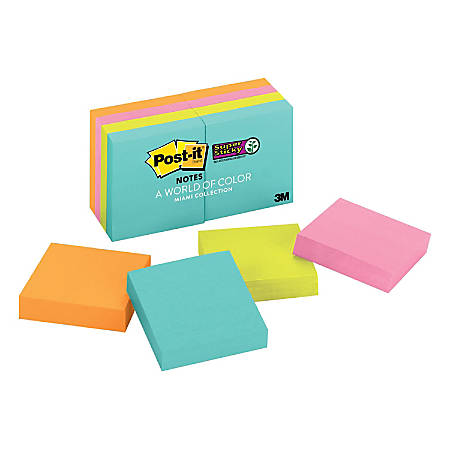 "Post-it® Super Sticky Notes, 1-7/8"" x 1-7/8"", Miami, Pack Of 8 Pads"