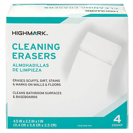 Highmark® Multi-Purpose Cleaning Erasers, 0.08 Oz, Pack Of 4
