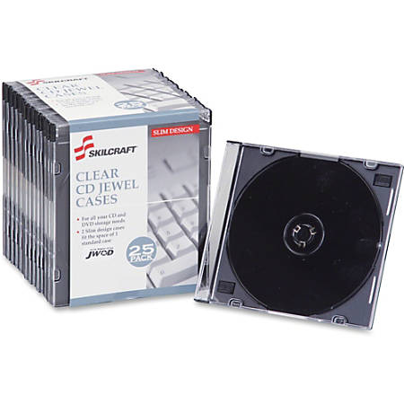 SKILCRAFT® Slim CD Jewel Cases, Pack Of 25 (AbilityOne 7045-01-502-6513)