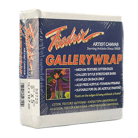 """Fredrix Gallerywrap Stretched Canvases, 5"""" x 5"""" x 1"""", Pack Of 2"""