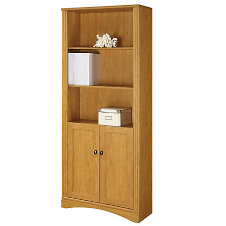 Realspace® Dawson 5-Shelf Bookcase With Doors, Canyon Maple