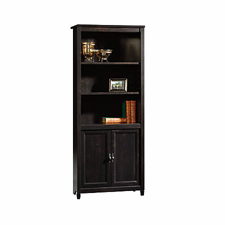 Sauder® Edge Water 5-Shelf Library With Doors, Estate Black