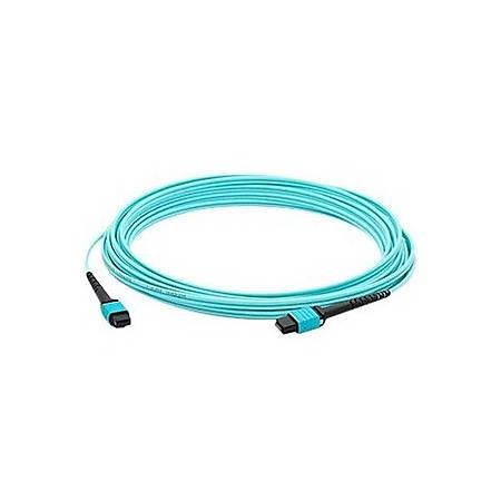 AddOn 50m MPO (Male) to MPO (Male) 12-strand Aqua OM3 Straight Fiber OFNR (Riser-Rated) Patch Cable