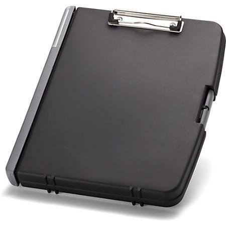 "OIC Triple File Clipboard Storage Box - 8 1/2"" x 11"" - Spring Clip - Black - 1 Each"