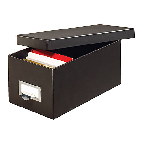 "Globe-Weis® 90% Recycled Index Card Storage Case, 5""H x 6 5/8""W x 11 5/8""D, For 4"" x 6"" Cards, Black"