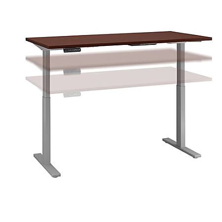 "Bush Business Furniture Move 60 Series 72""W x 30""D Height Adjustable Standing Desk, Harvest Cherry/Cool Gray Metallic, Standard Delivery"