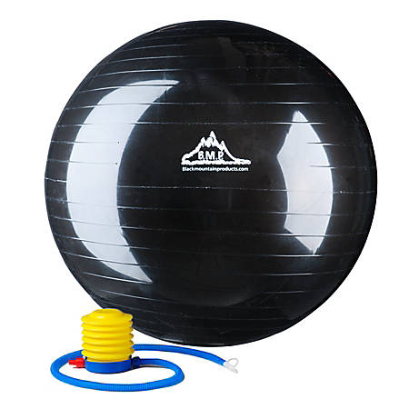 Black Mountain Products 2000 lb Static Strength Stability Ball With Pump, 75cm, Black
