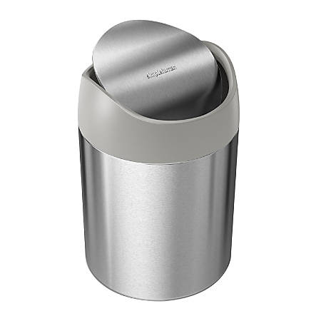 "simplehuman Mini Round Steel Trash Can, 7-3/8""H x 5""W x 5""D, 1.6 Qt, Stainless Steel"
