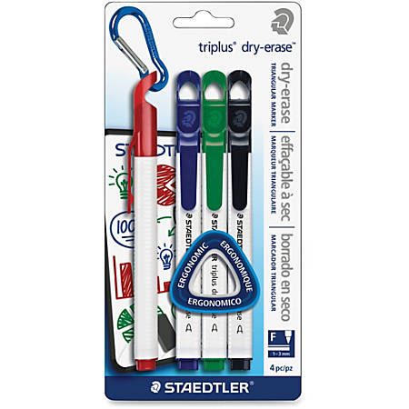 Staedtler Triplus Fine-tip Dry-erase Markers - Fine Marker Point - Red, Blue, Green, Black - 4 / Pack