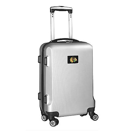 "Denco 2-In-1 Hard Case Rolling Carry-On Luggage, 21""H x 13""W x 9""D, Chicago Blackhawks, Silver"