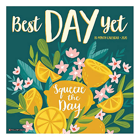 """Willow Creek Press Inspirational Monthly Wall Calendar, 12"""" x 12"""", Best Day Yet, December To January 2020"""