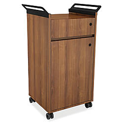 Lorell Mobile Storage Cabinet Small Walnut