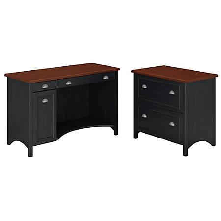 Bush Furniture Stanford Computer Desk With 2 Drawer Lateral File Cabinet, Antique Black/Hansen Cherry, Standard Delivery