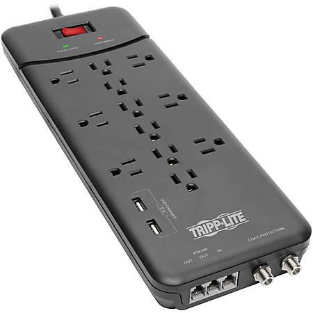 Tripp Lite Surge Protector Power Strip 12 Outlets, 2 USB Charging Ports Tel/Modem/Coax - 12 x NEMA 5-15R, 2 x USB - 1800 VA - 4320 J - 120 V AC Input - Phone/Fax/Modem/DSL, Coaxial Cable Line