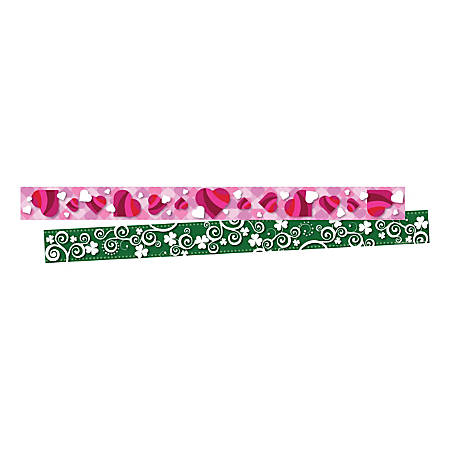 "Barker Creek Double-Sided Border Strips, 3"" x 35"", Hearts And Clover, Set Of 24"
