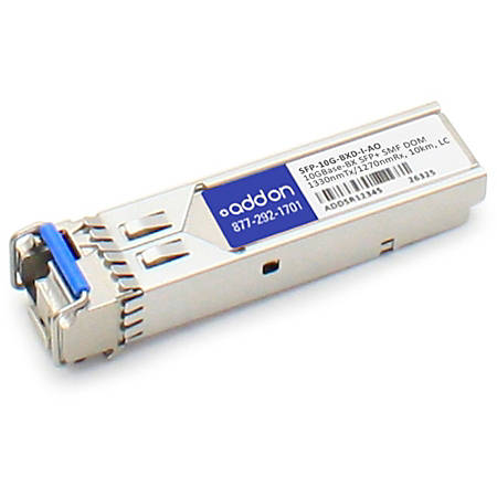 AddOn Cisco SFP-10G-BXD-I Compatible TAA Compliant 10GBase-BX SFP+ Transceiver (SMF, 1330nmTx/1270nmRx, 10km, LC, DOM)