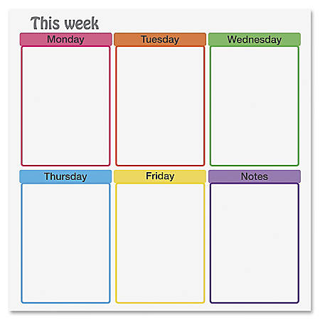 """Flipside This Week Clinging Dry-erase Film - 24"""" (2 ft) Width x 24"""" (2 ft) Length - Assorted - Square - 1 Each"""