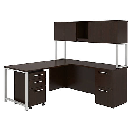 "Bush Business Furniture 400 Series 72""W x 22""D L Shaped Desk And Hutch With 48""W Return And Storage, Mocha Cherry, Premium Installation"