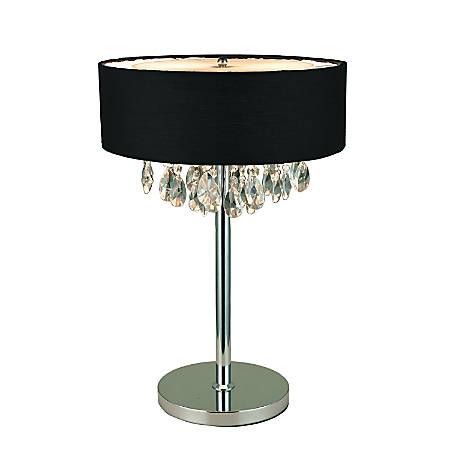 "Elegant Designs Romazzino Cascading Crystal Table Lamp, 22 1/4""H, Black Shade/Chrome Base"