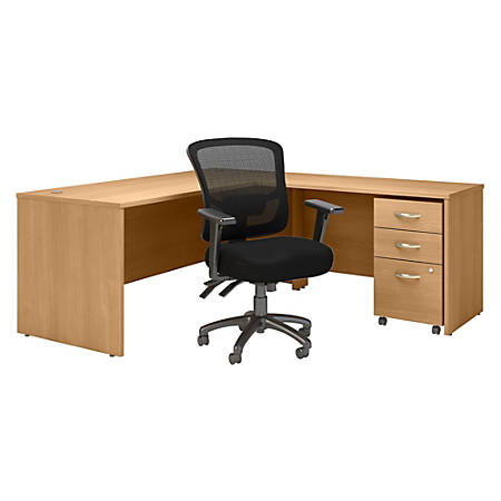 "Bush Business Furniture Components 72""W L-Shaped Desk With Mobile File Cabinet And Mid-Back Multifunction Office Chair, Light Oak, Premium Installation"