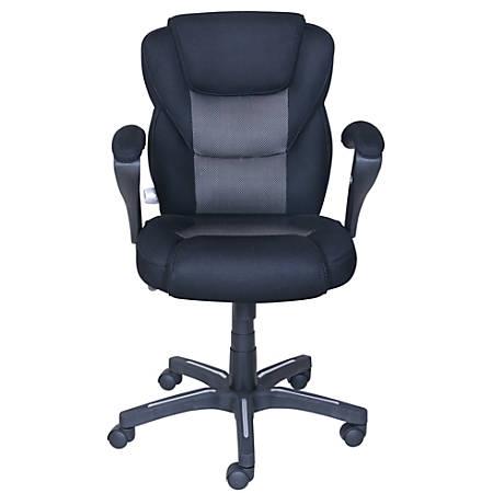 "True Innovations Sport Mesh Mid-Back Chair, 40 1/4""H x 24 3/4""W x 26 3/4""D, Gray/Black"