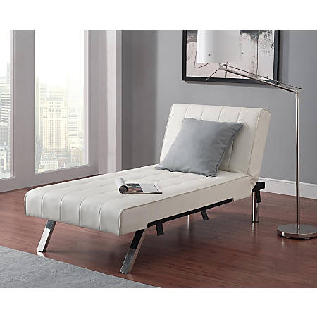 "DHP Emily Chaise Lounger, Faux Leather, 32 1/2""H x 61 1/2""W x 30""D, Vanilla"