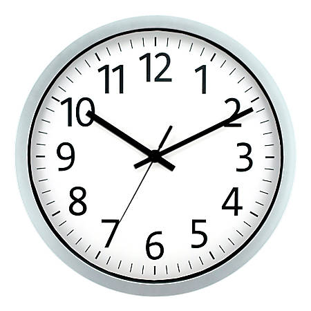 "Realspace™ Round Wall Clock, 12"", Spray Silver"