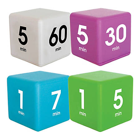 Datexx Time Cube® Preset Timers, Blue/Green/Purple/White, Pre-K - College, Pack Of 4