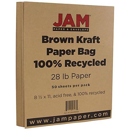 "JAM Paper® Printer Paper, Letter Size (8 1/2"" x 11""), 28 Lb, Brown Kraft, Ream Of 50 Sheets"