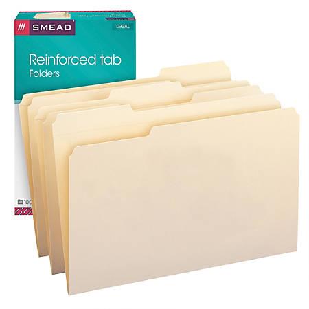 Smead® Reinforced Tab Manila File Folders, Legal Size, 1/3 Cut, Box Of 100