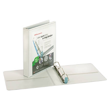 """Office Depot® Brand EasyOpen® ClearVue™ Locking Slant-D® Ring Binder, 1 1/2"""" Rings, Letter Size, White"""