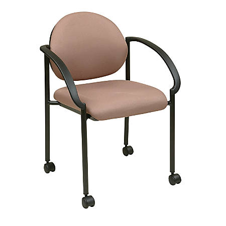 """Office Star™ Work Smart Fabric Stack Chair With Casters & Arms, 33""""H x 24 1/2""""W x 24 1/4""""D, Icon Taupe"""