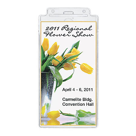 """GBC® BadgeMates Oversized ID Badge Holders, 4"""" x 7 1/2"""", Clear, Pack Of 25"""