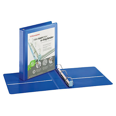 "Office Depot® Brand EasyOpen® ClearVue™ Locking Slant-D® Ring Binder, 1 1/2"" Rings, Letter Size, Blue"
